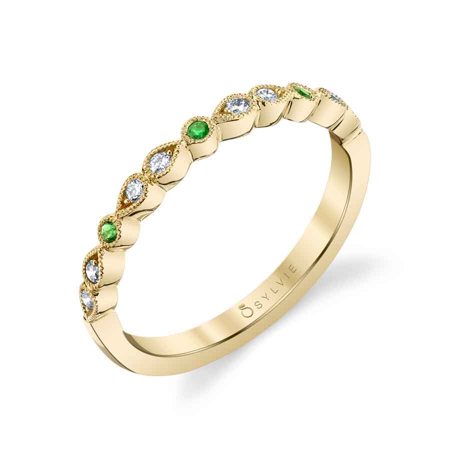 Elena - Diamond and Green Emerald Wedding Band