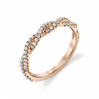 Modern Spiral Wedding Band in Rose Gold