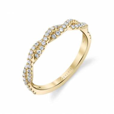 Modern Spiral Wedding Band in Yellow Gold