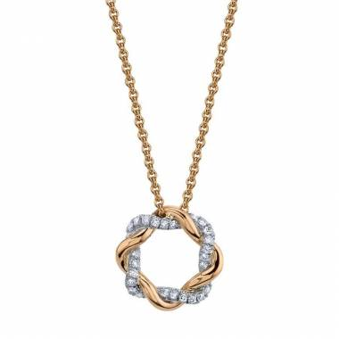 Modern Rose Gold and Diamond Swirl Pendant