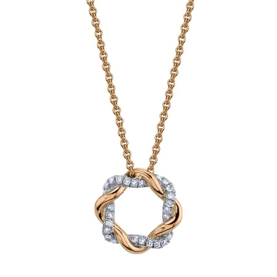 Modern Rose Gold and Diamond Swirl Pendant