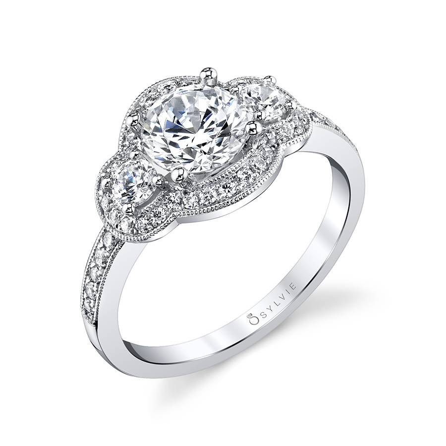 Three Stone Engagement Ring with Milgrain Detail