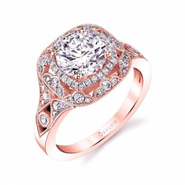 Vintage Inspired Engagement Ring in Rose Gold