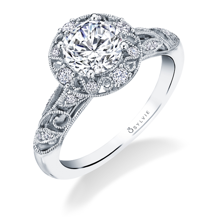 Vintage Inspired Halo Engagement Ring - S1748