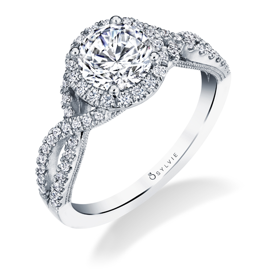 Spiral Split Shank Engagement Ring with Halo - S1751