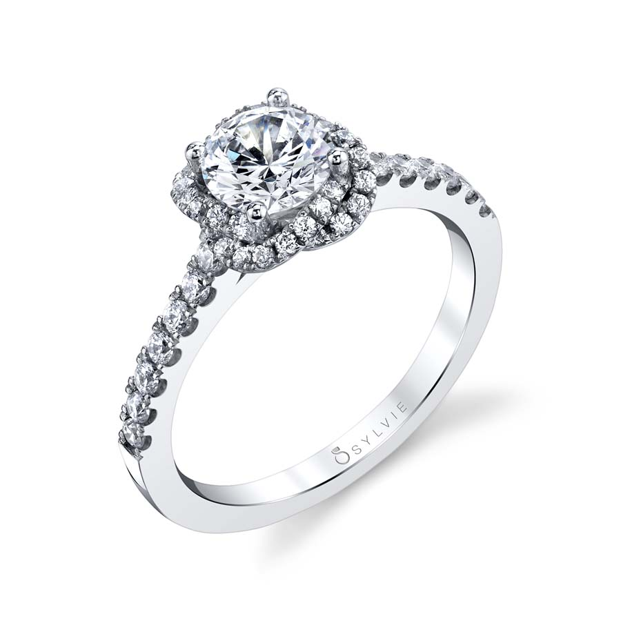 Flower Inspired Halo Engagement Ring - S1782