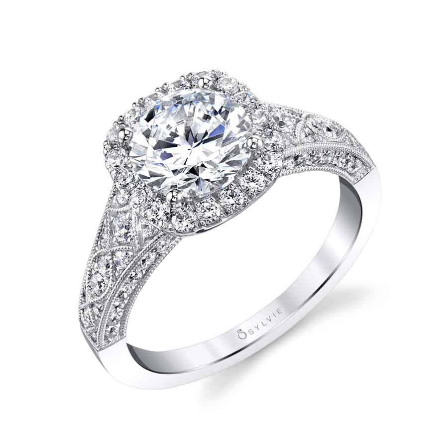 Vintage Inspired Engagement Ring with Cushion Halo - S1869