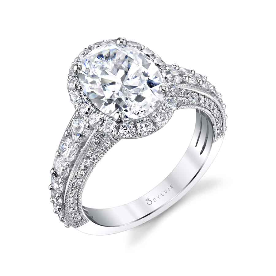 Oval Shaped Halo Engagement Ring - S1871
