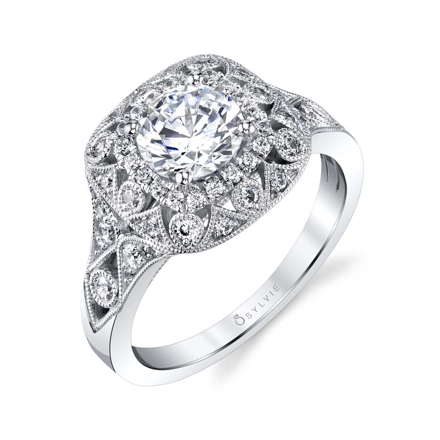 Vintage Engagement Ring with Double Halo - S1795