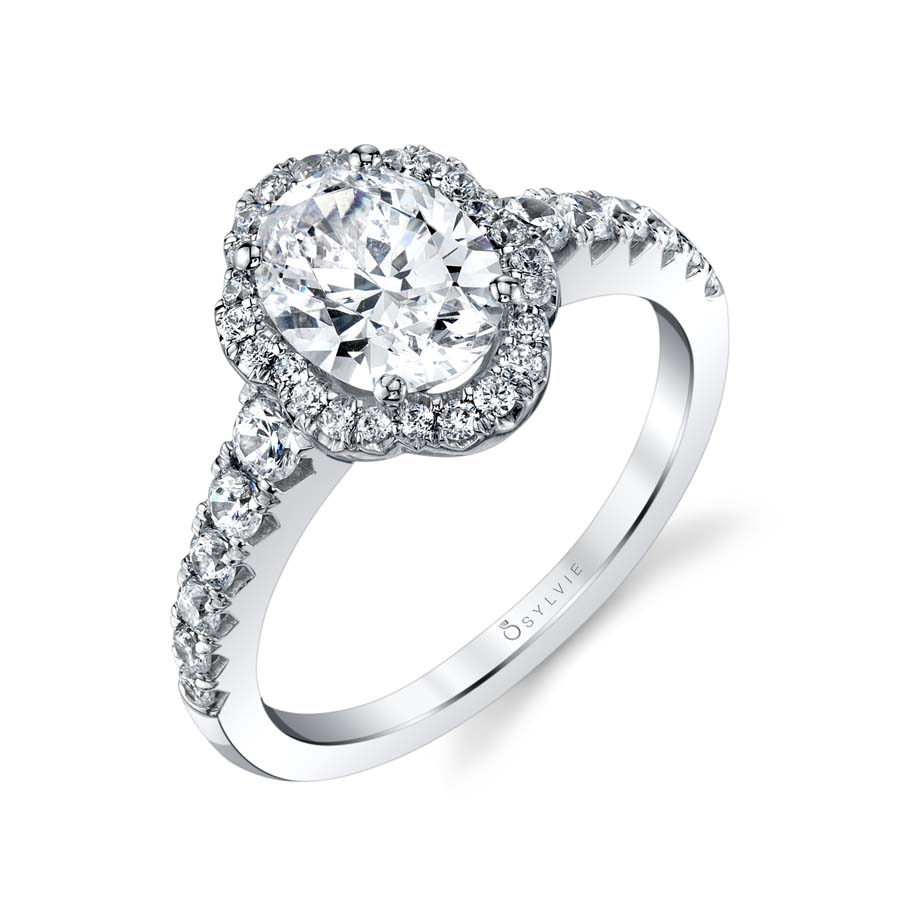 Oval Engagement Ring with Halo - S1804