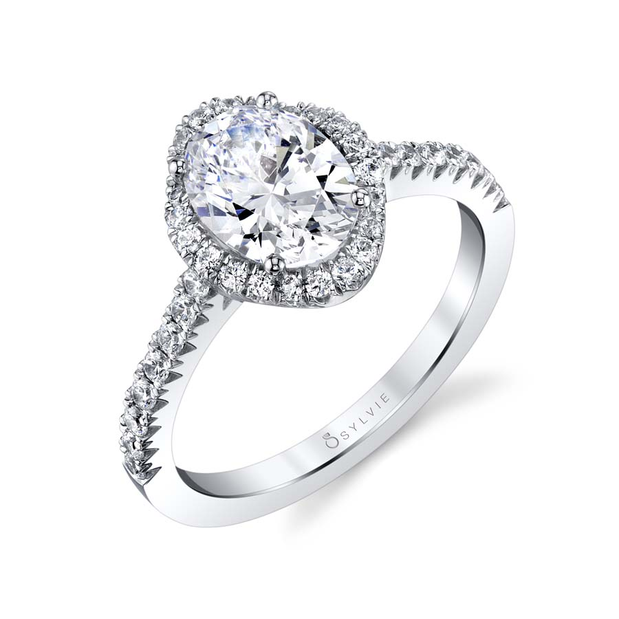 Oval Engagement Ring with Halo - S1805