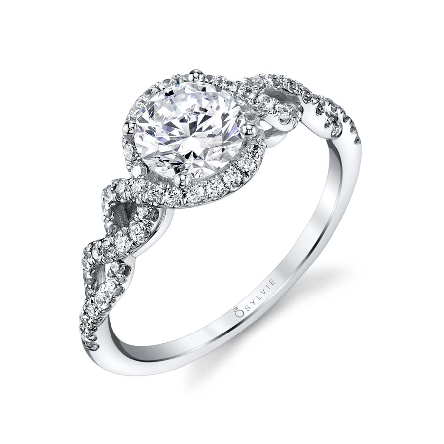 Spiral Engagement Ring with Halo - S1807