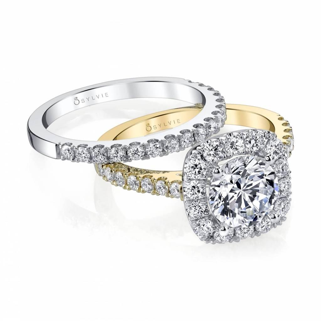 cushion cut engagement ring and wedding band set