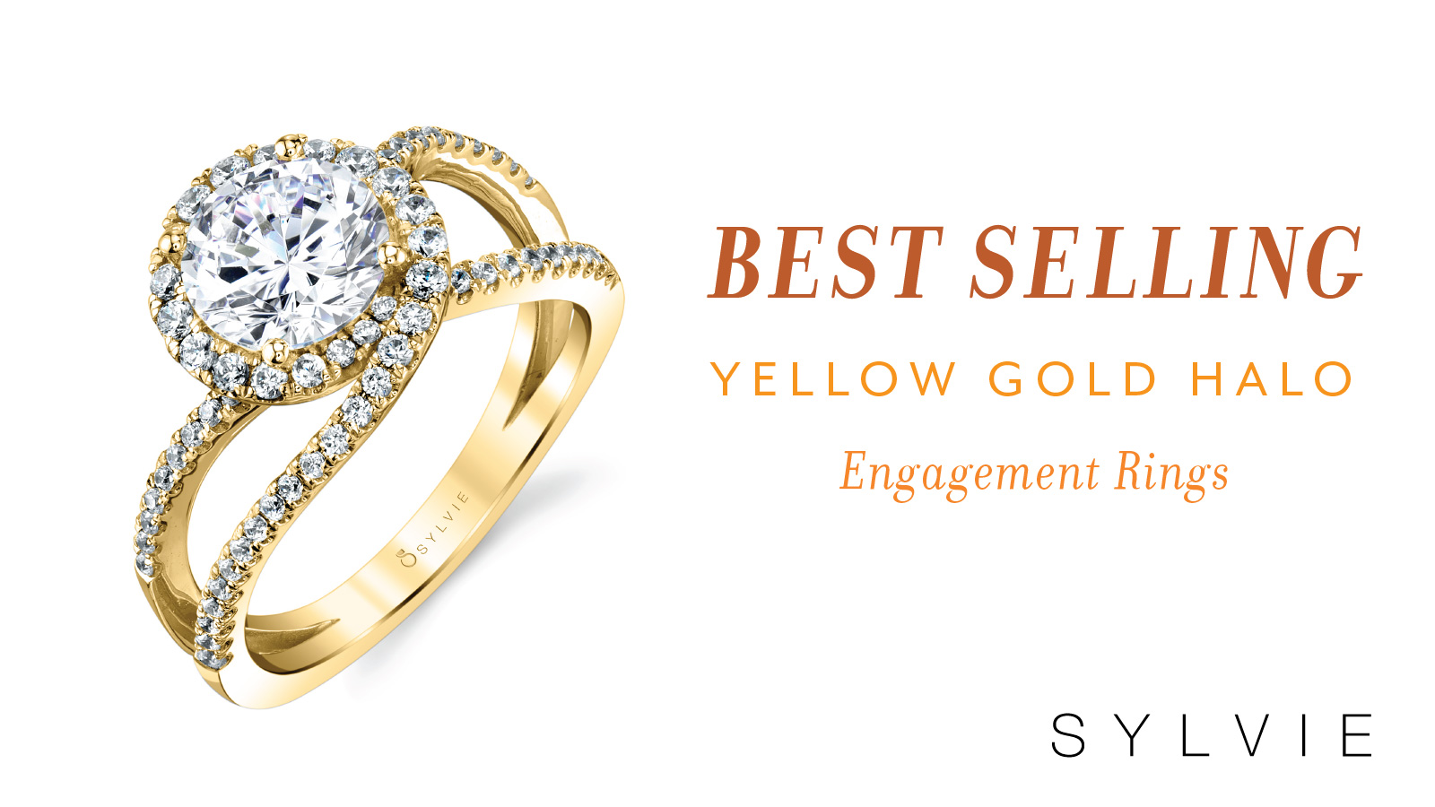 Best Selling Yellow Gold Halo Engagement Rings -Sylvie Collection