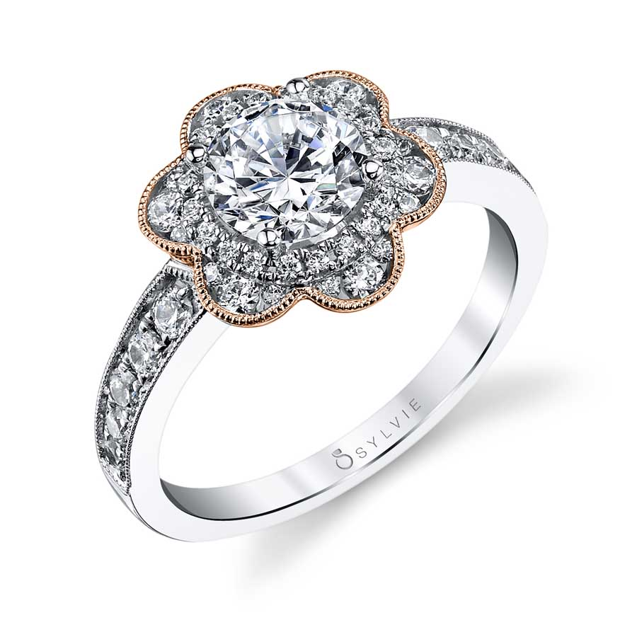 Adelia – Flower Inspired Halo Engagement Ring with Rose Gold Accents