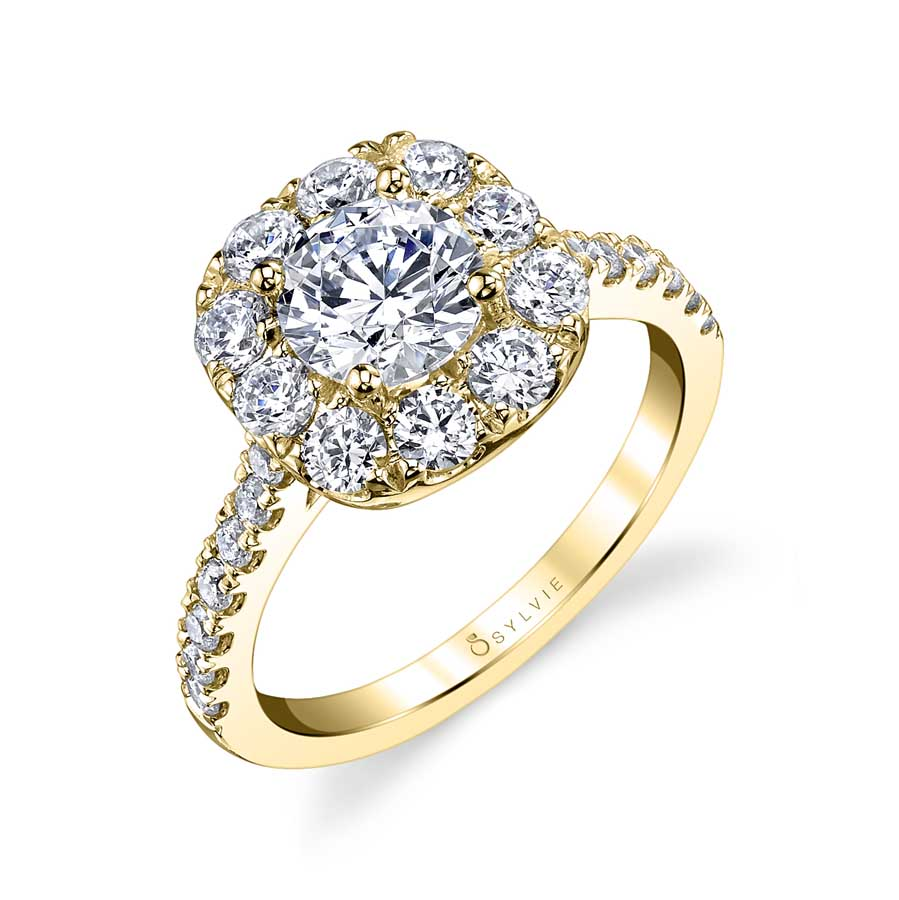 Classic Cushion Halo Engagement Ring