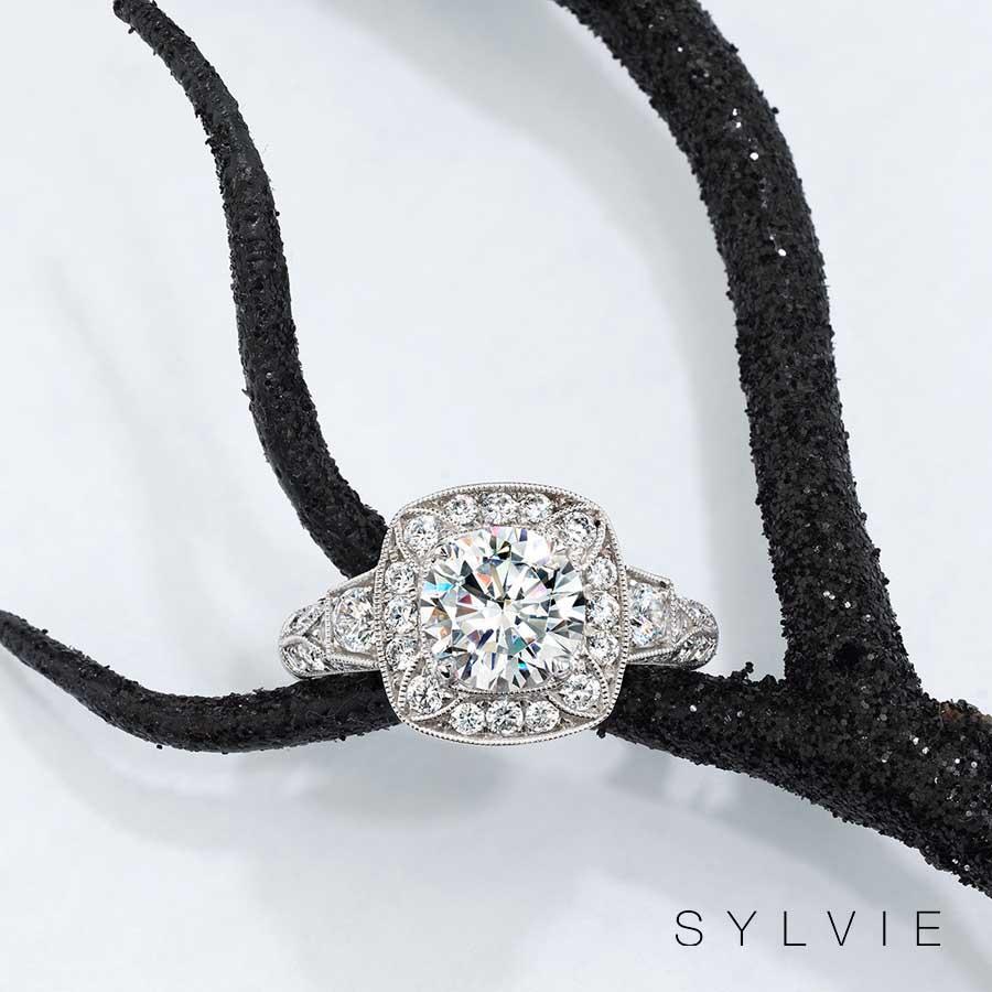 halloween white gold engagement ring