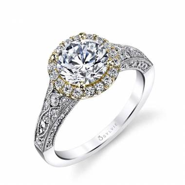 Cheri - Vintage Inspired Two-Tone Halo Engagement Ring