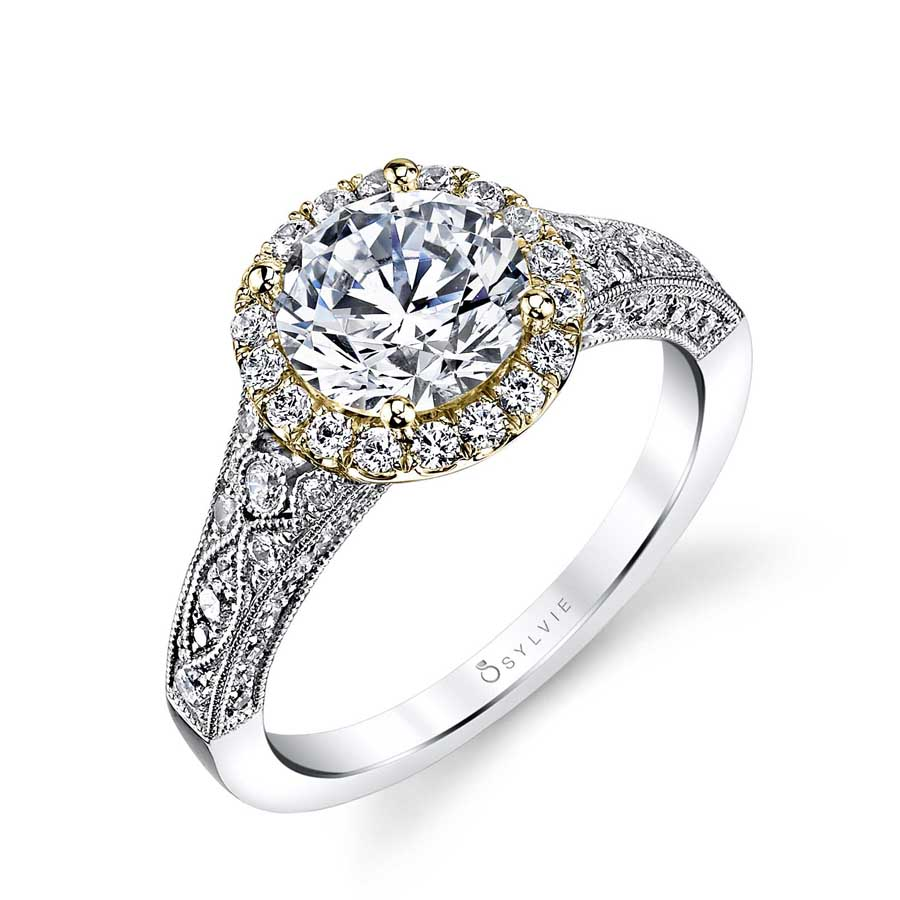 Vintage Inspired Halo Engagement Ring_S1409-076A4W15R