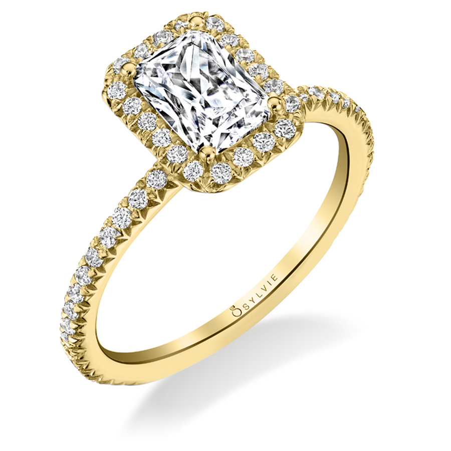 emerald cut yellow gold engagement ring