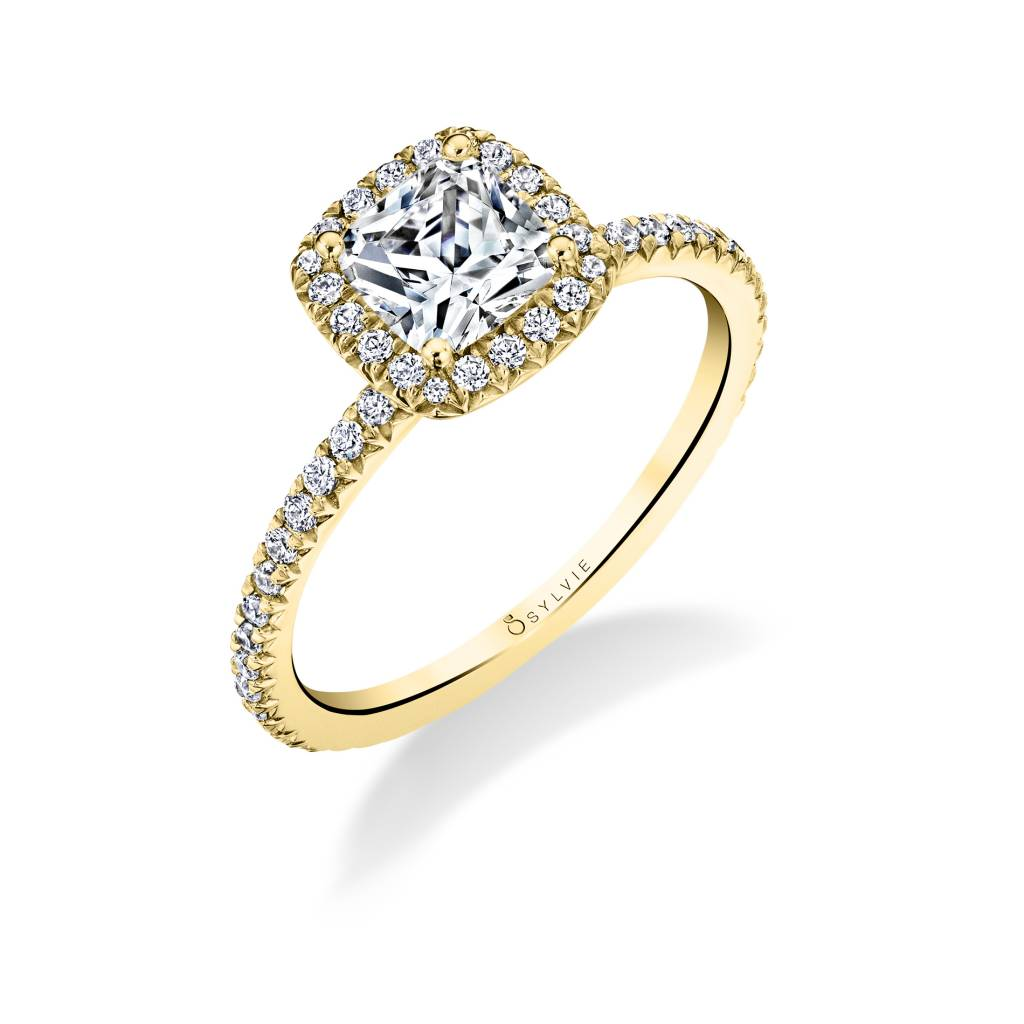 halo yellow gold engagement ring