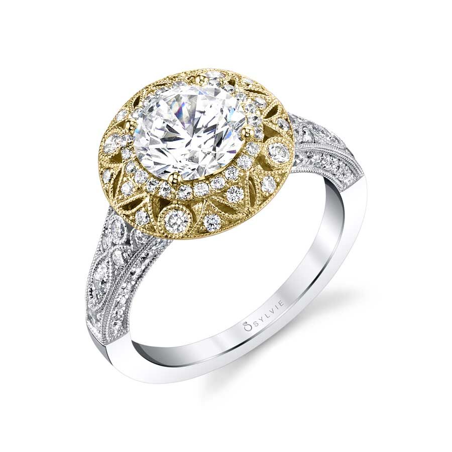 Vintage Inspired Double Halo Engagement Ring - S1866 TT
