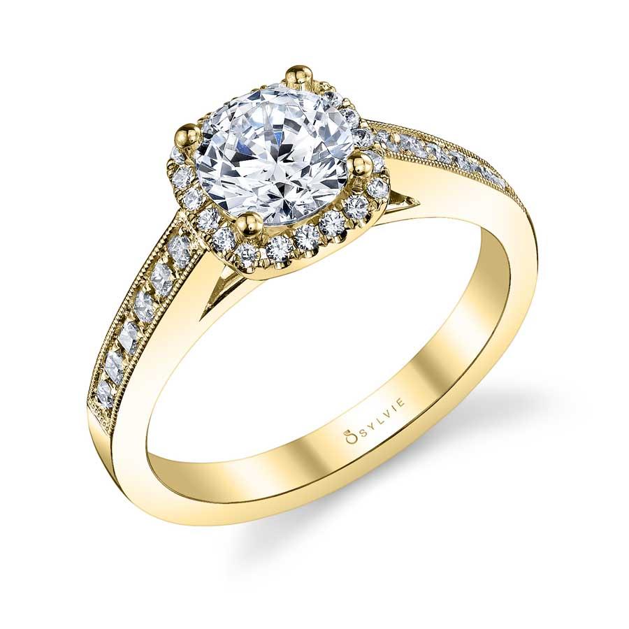 Eliana – Vintage Inspired Round Engagement Ring with Cushion Halo