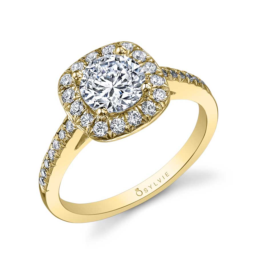 Round Engagement Ring with Cushion Halo_SY995-033A4W10R