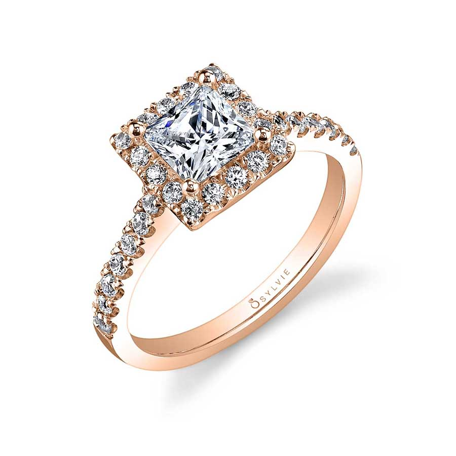 Adrienne – Princess Cut Halo Engagement Ring