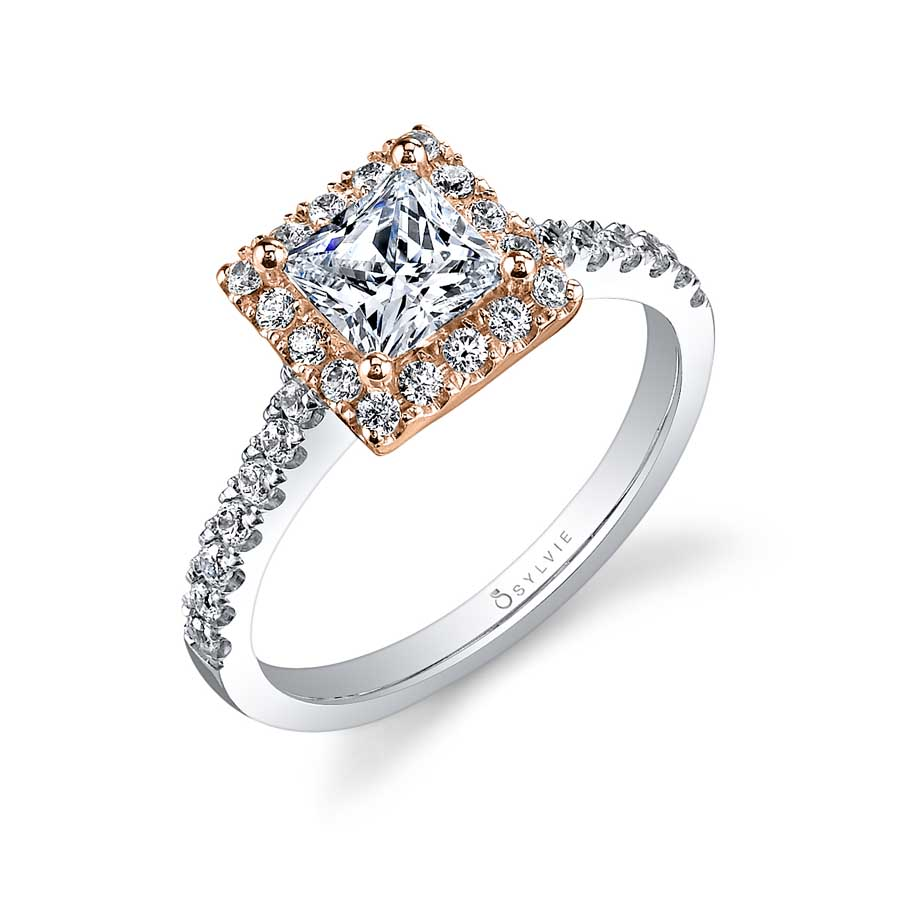 Véronique II - Two Tone Princess Cut Halo Engagement Ring