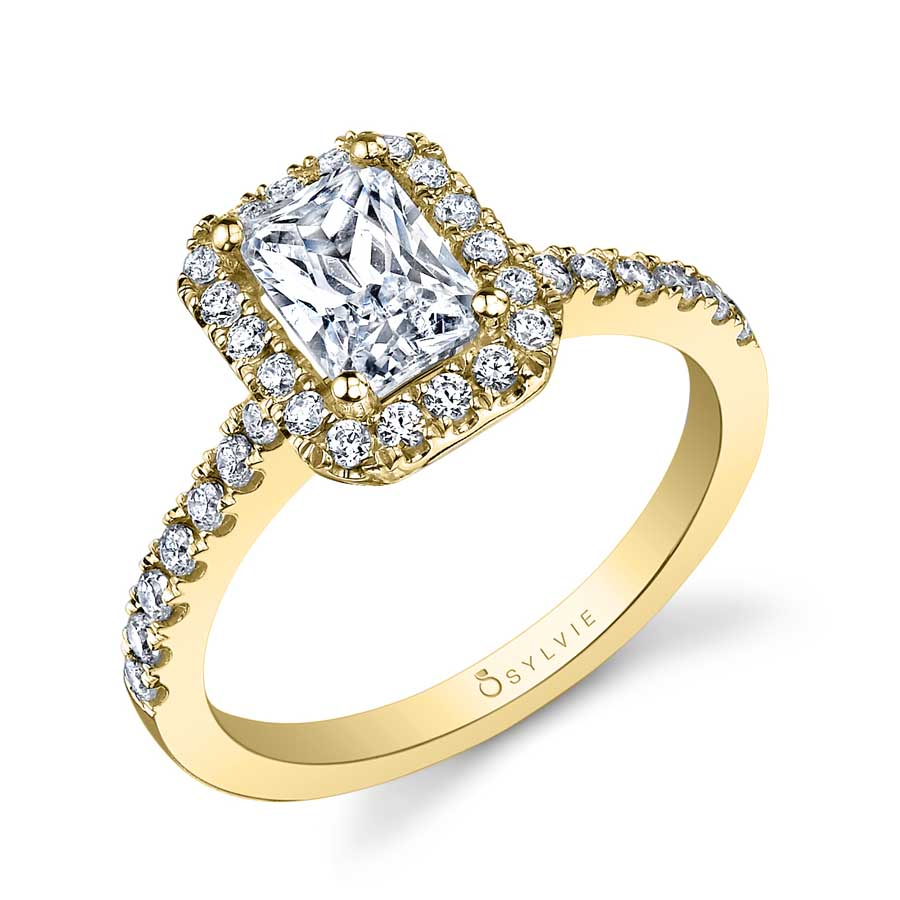 Adrienne – Emerald Cut Halo Engagement Ring