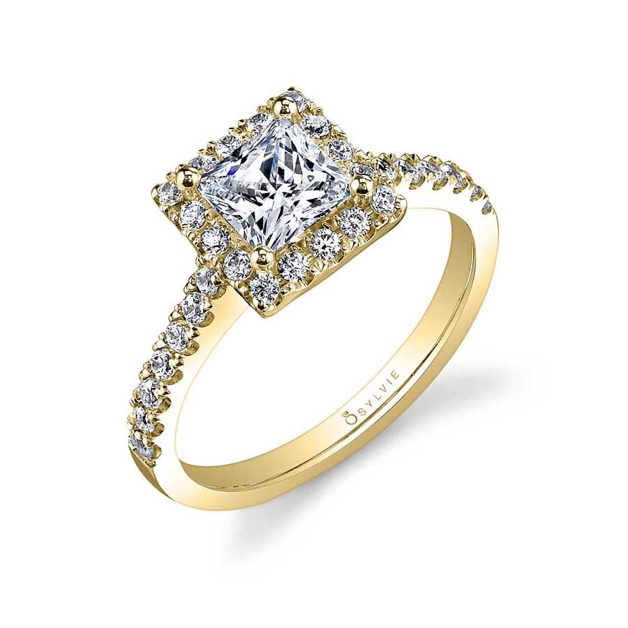 Adrienne – Princess Cut Halo Engagement Ring