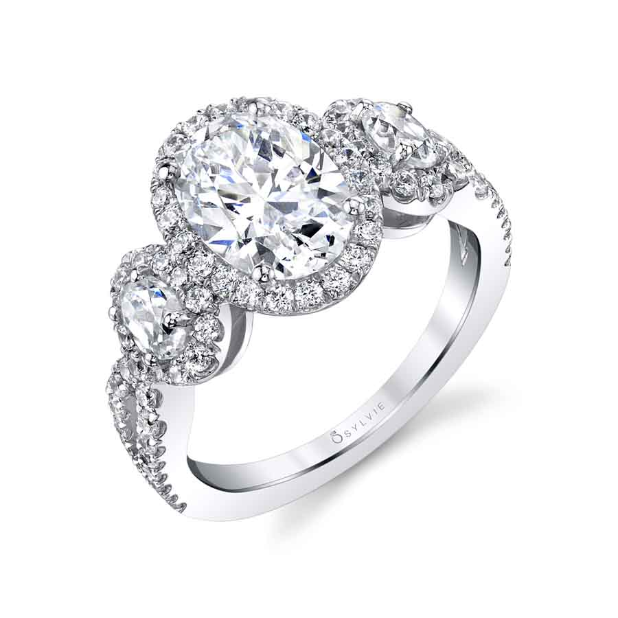 3 stone split shanks engagement ring