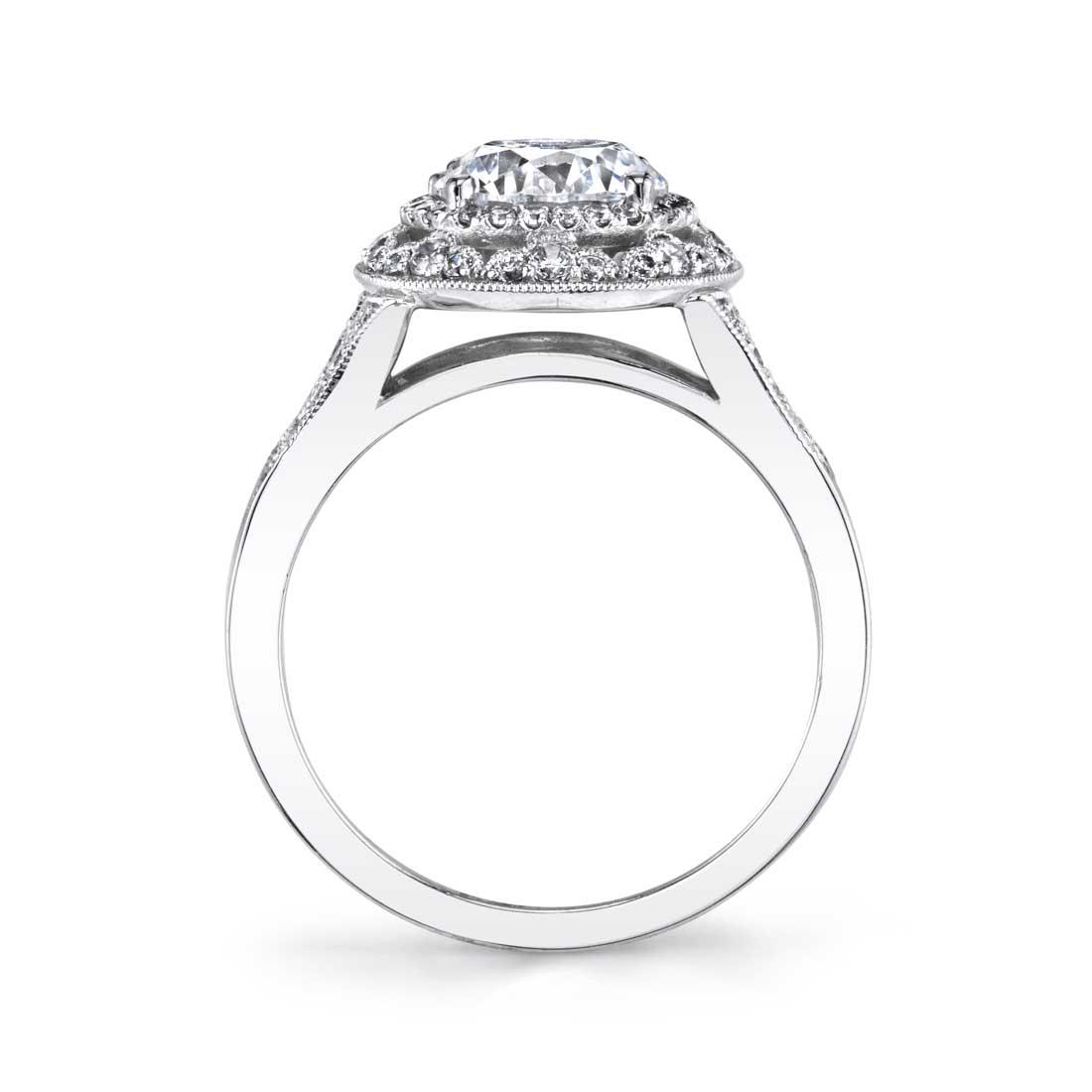 Cheri Vintage Inspired Halo Engagement Ring: Jade - Vintage Inspired Engagement Ring