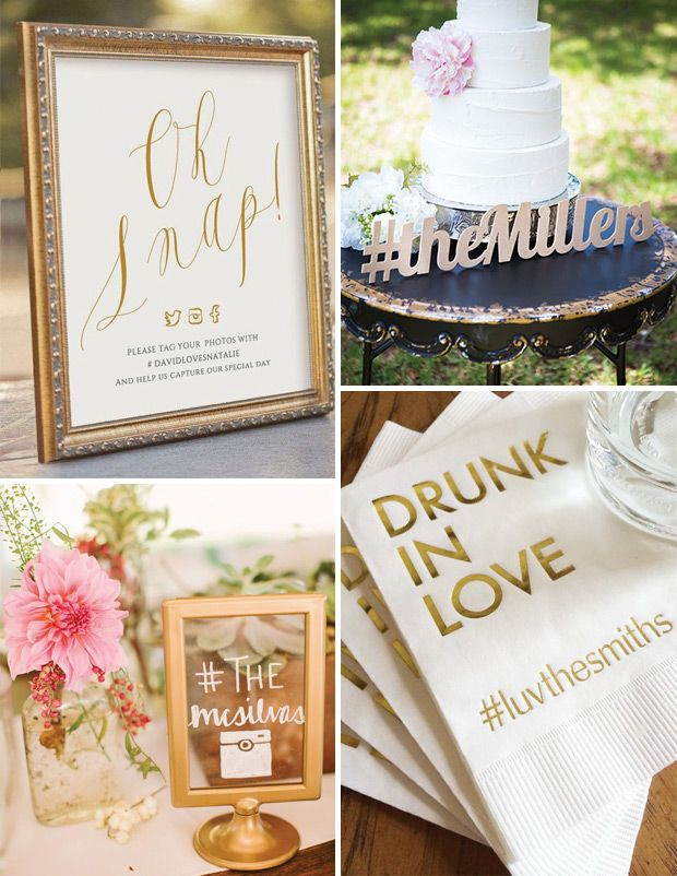 hashtag wedding signs