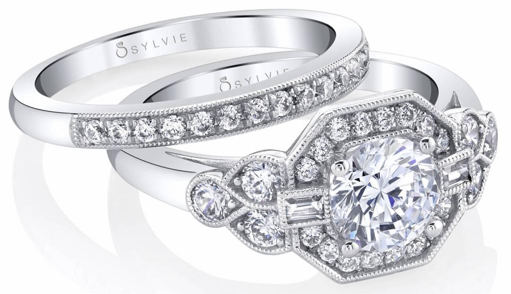 vintage inspired engagement ring set