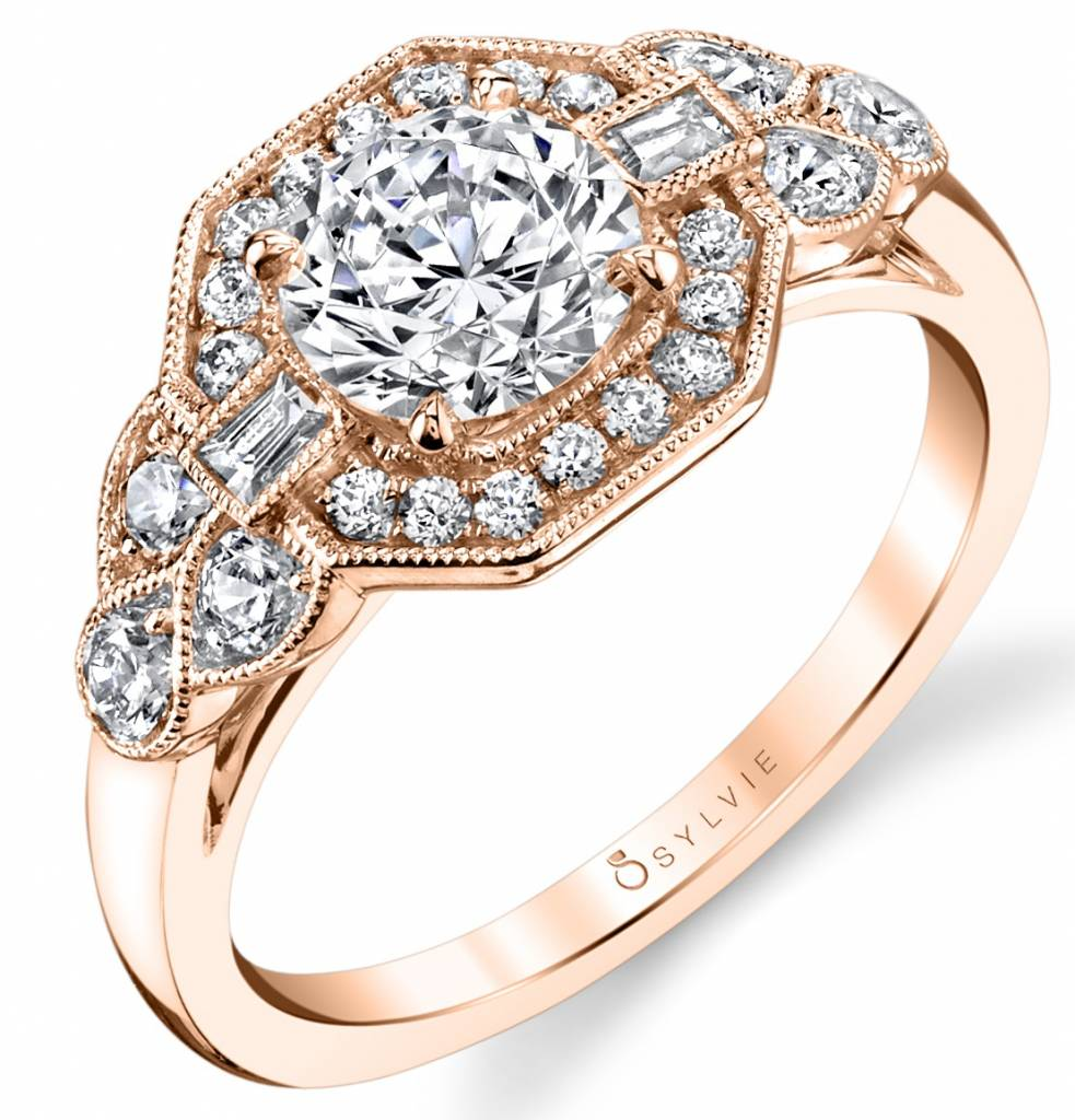 rose gold vintage inspired engagement ring