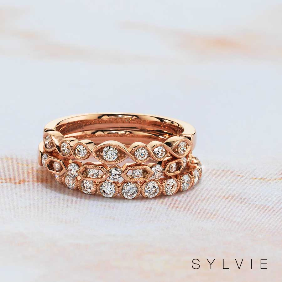 rose gold stackable bands