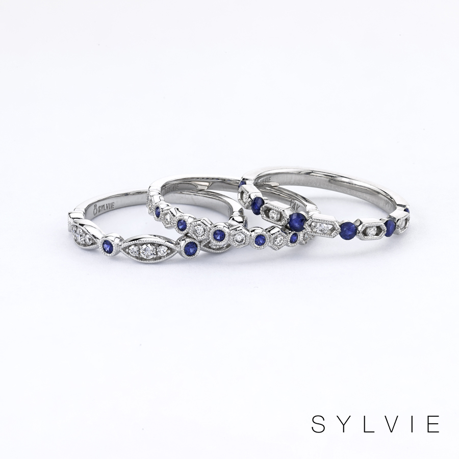 blue sapphire stackable bands
