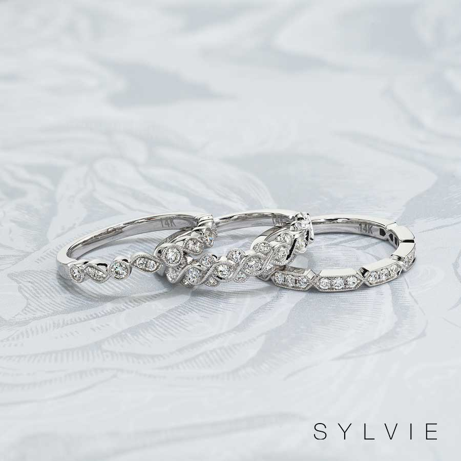 white gold stackable bands