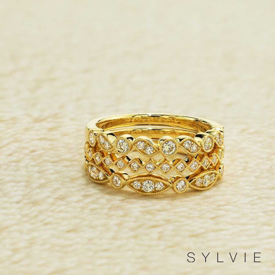 yellow gold stackable bands