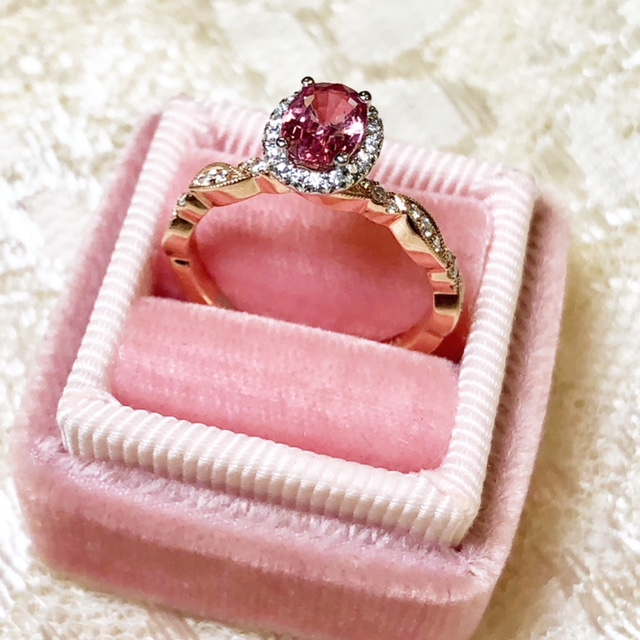 custom engagement ring pink sapphire halo engagement ring