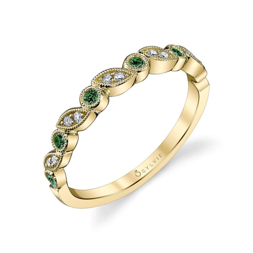 b0018 - diamond and emerald stackable bands