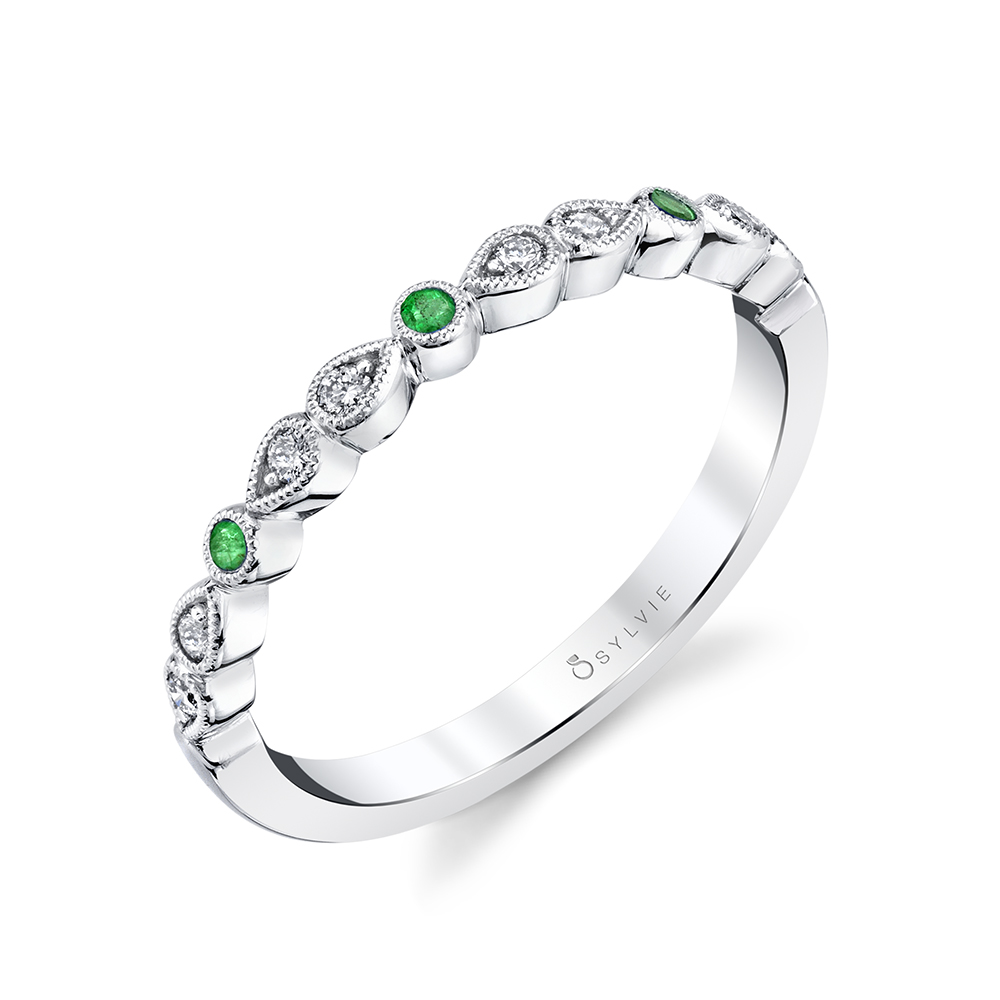 B0033 - Diamond and emerald stackable bands