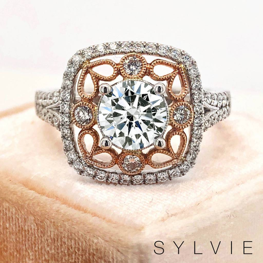 two tone vintage engagement ring